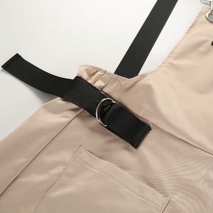 New Khaki Long Zipper Pockets Adjusted Strap Cotton Romper