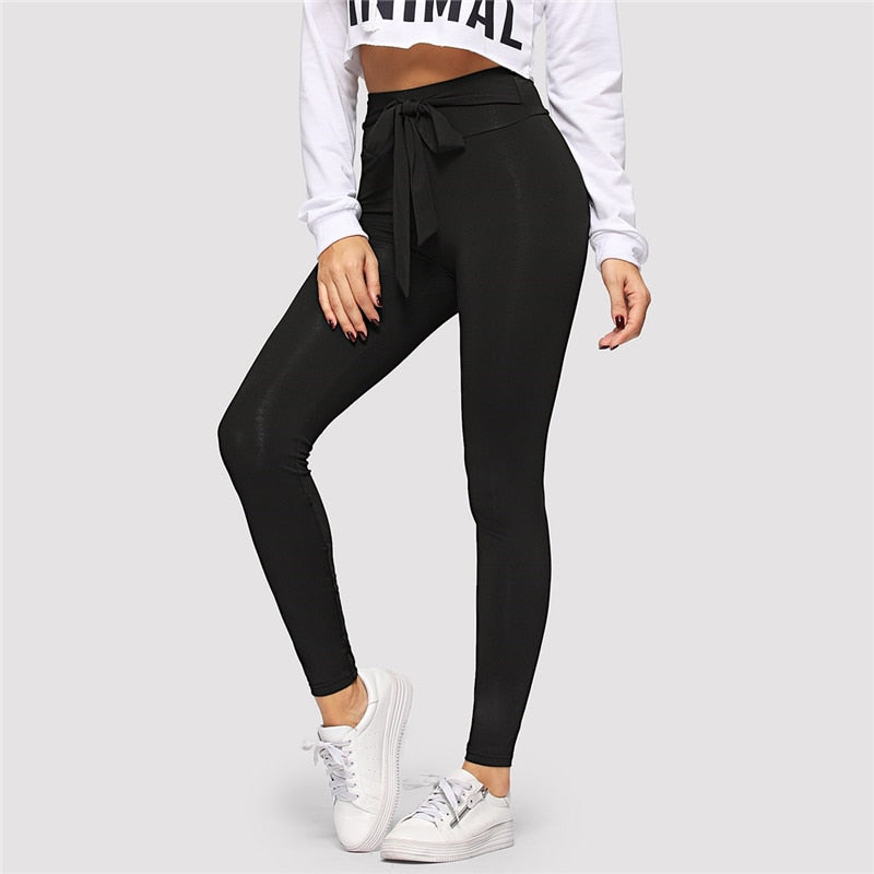 Black Tie Waist Drawstring Solid Skinny Leggings