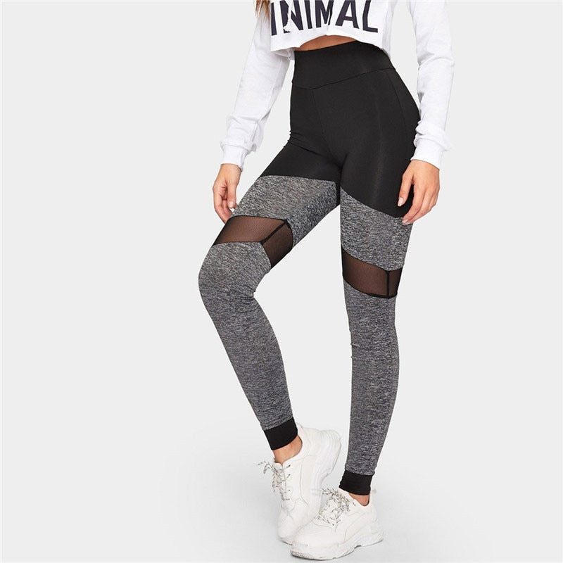 Active Wear Casual Two-Tone Mesh Skinny Leggings