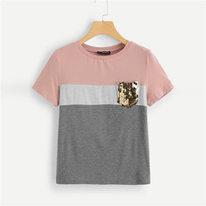 Multicolor Color Block Cut and Sew Sequin Pocket T
