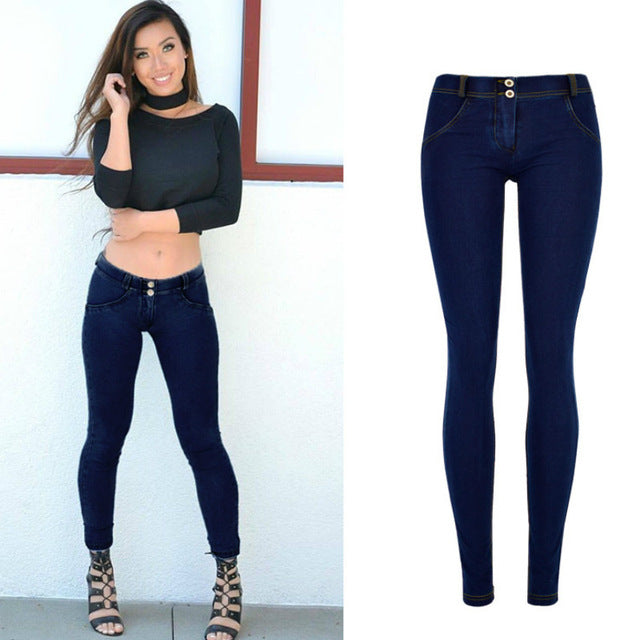 Street Push Up black Denim Pants Low Waist Skinny Pencil Pants