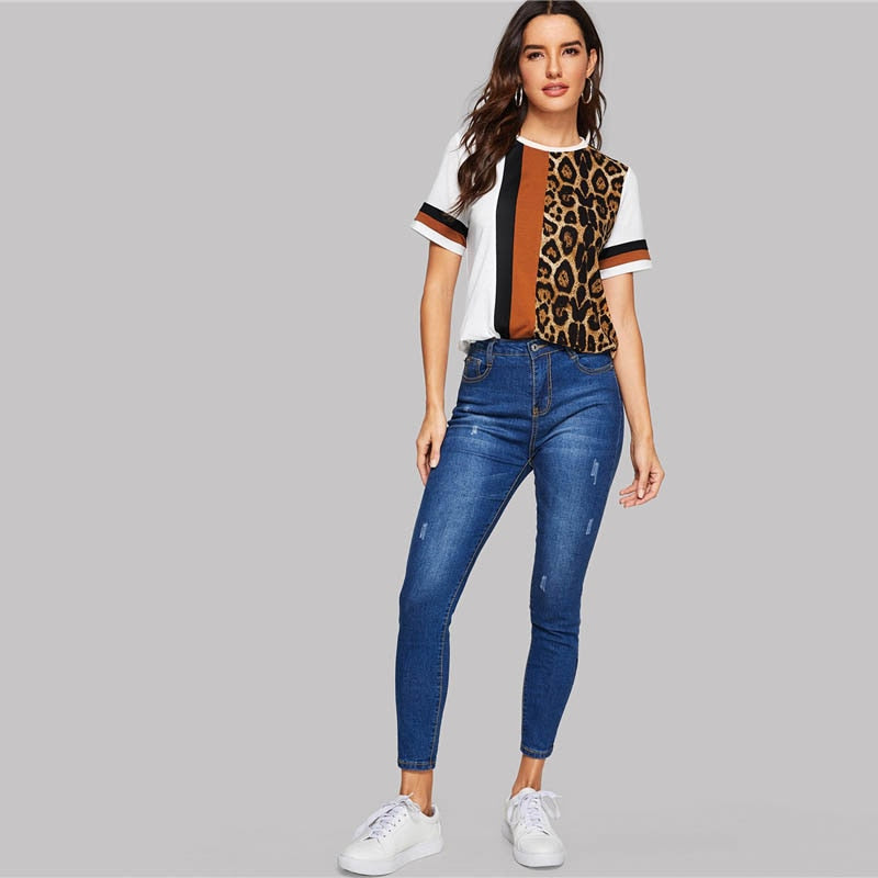 White Color Block Cut-and-Sew Leopard Panel Top Short Sleeve O-Neck Casual T Shirt