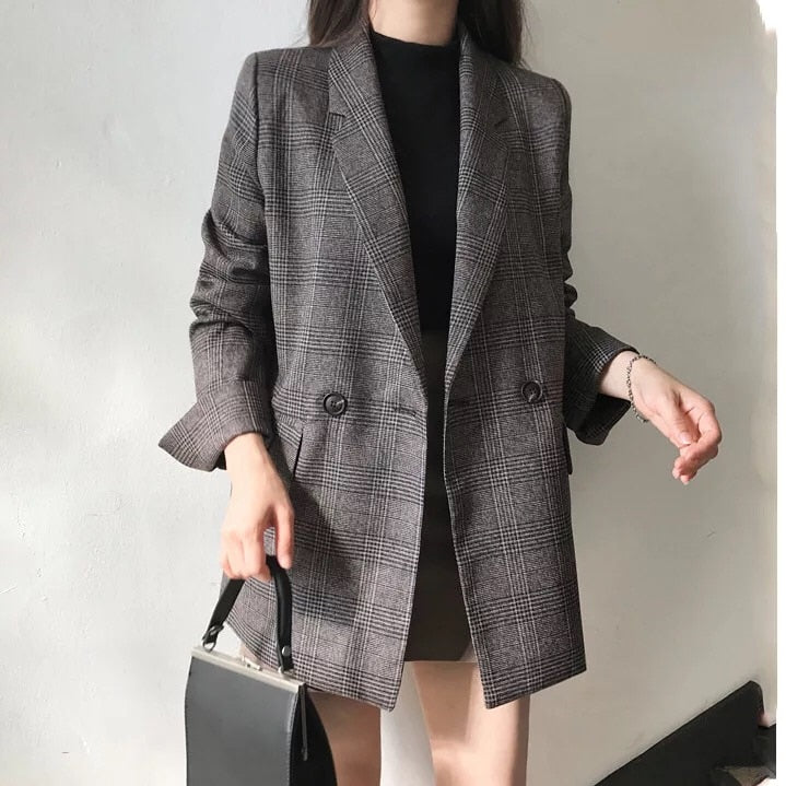's check long sleeve cotton jacket causual vintage coat plaid blazer