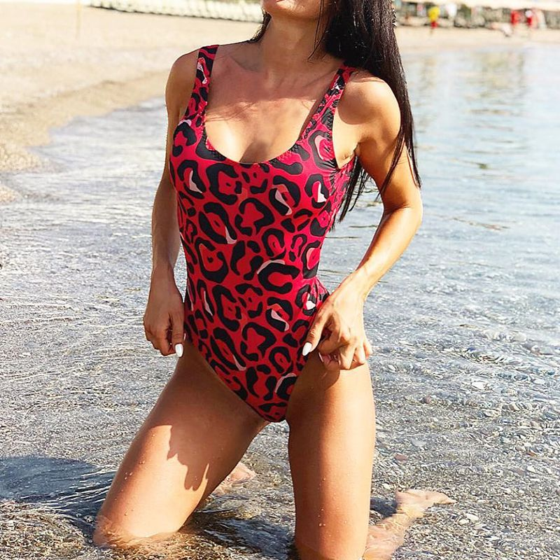 Sexy Leopard Padded Bodysuit Sexy Backless Brazilian Bathing Suit