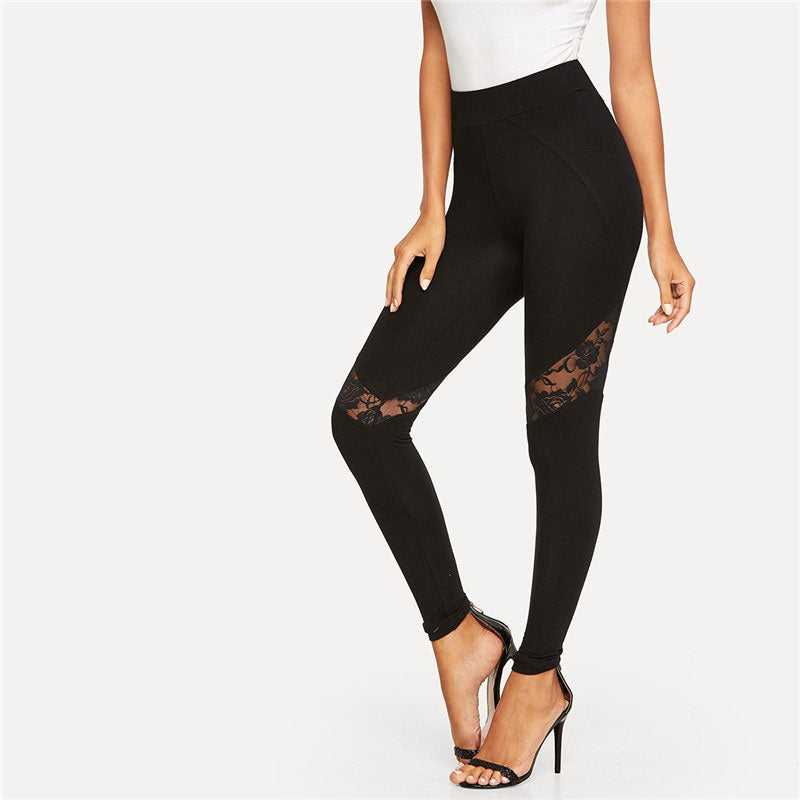Black Mesh Lace Floral Print Insert Leggings