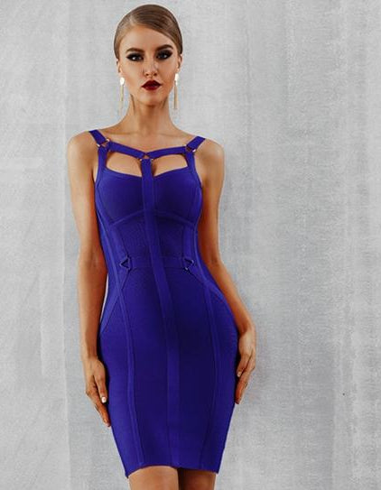 Royal Blue Fashion Spaghetti Strap Hollow Out Runway Dress