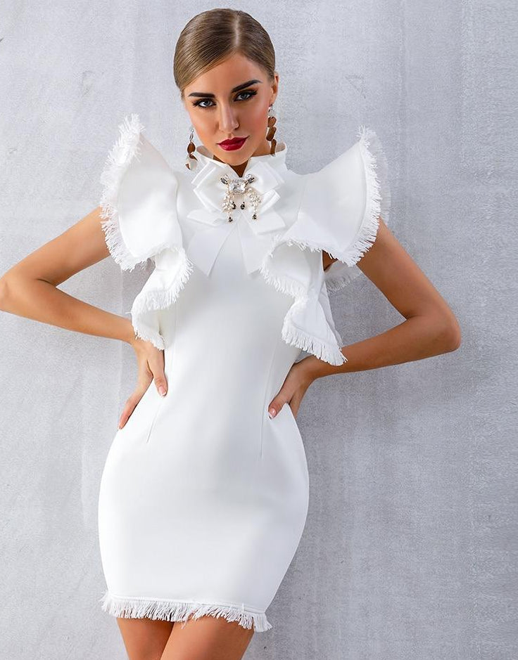 White Fashion Sexy Evening Dress