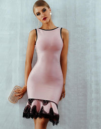 Fashion Pink Lace Up Backless Mermaid O-Neck Tank Dress