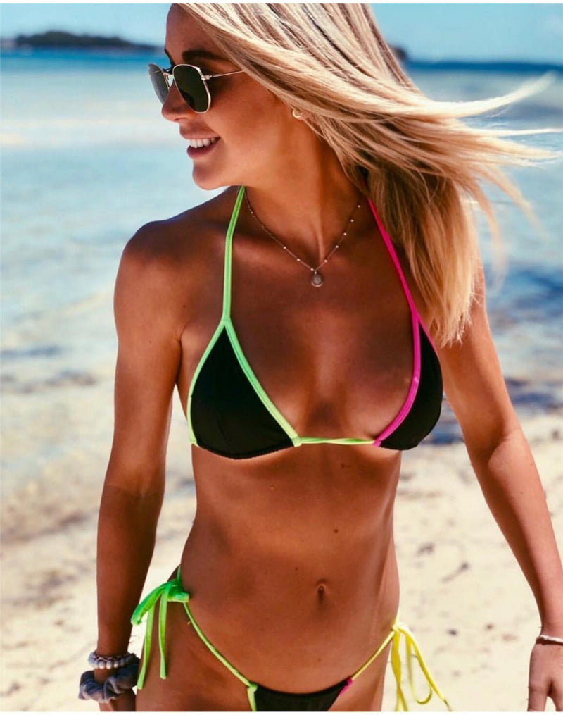 Sexy Beach Bright Bikini Two Piece Set