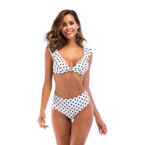Ruffle 2 Piece Set Beach Wear Polka Dot Plaid Print V Neck Bikini