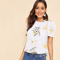 White Keyhole Back Pleated Floral Short Puff Sleeve Blouse
