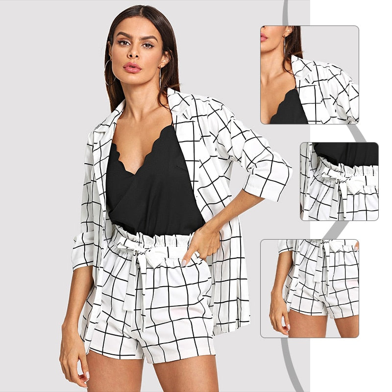 Black and White Plaid Notched Blazers With Self Tie Waist Shorts