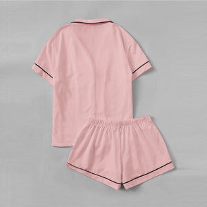 Pink Contrast Piping Pocket Shirt Lapel Top Elastic Shorts Pajama Set