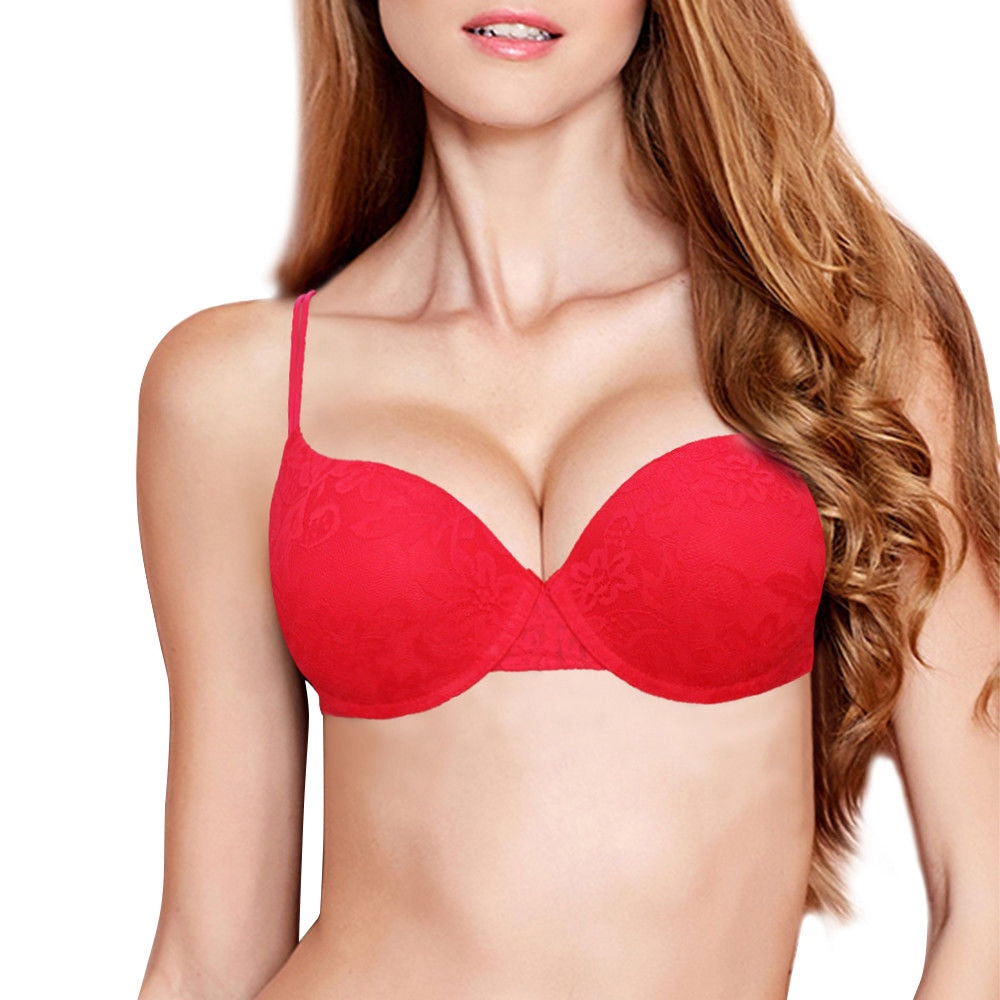 Sexy Underwire Padded Push Up Embroidery Lace Bra