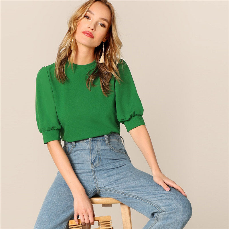Casual Green Puff Sleeve Keyhole Back Solid Top And