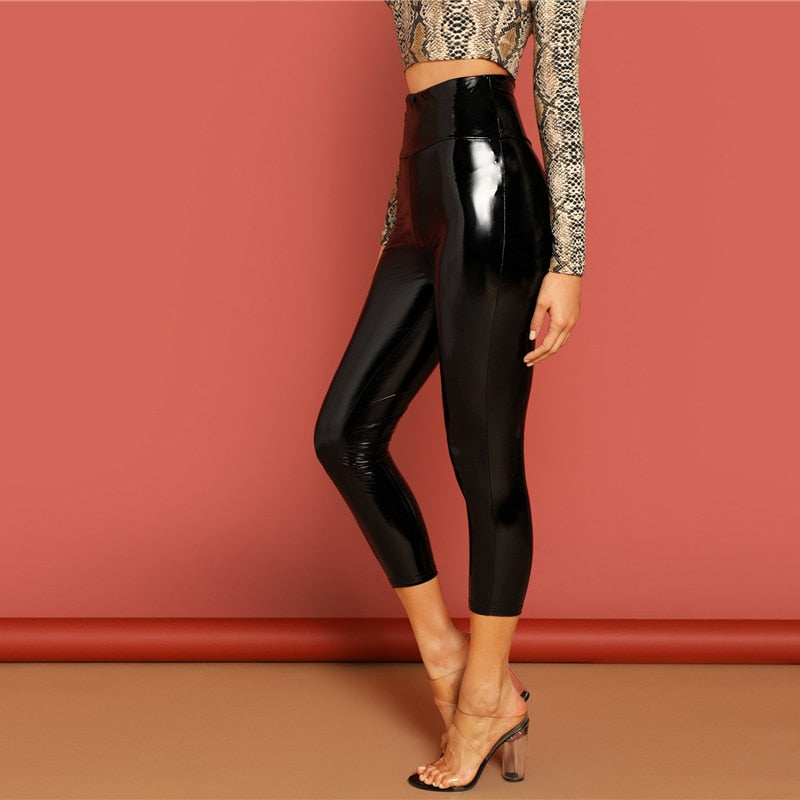 Black Solid PU Skinny Mid-Calf Leggings Glamorous Leggings