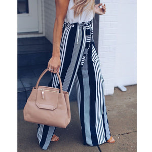 Fashion Lace up Pants High Waist Office Trousers