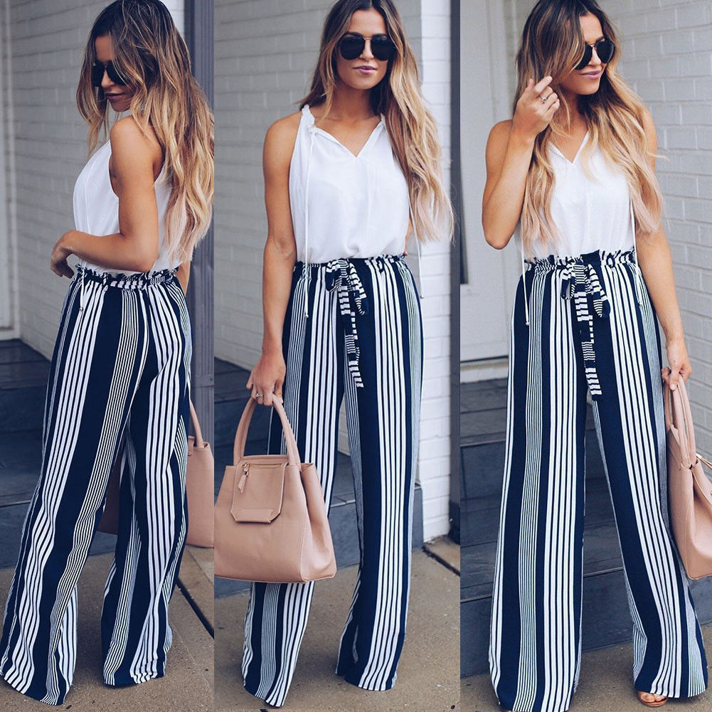 Fashion Lace up Pants High Waist Elegant Office Ladies Trousers