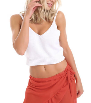 Boho White Knitted Crop Top and Shorts 2 Piece Set Beach