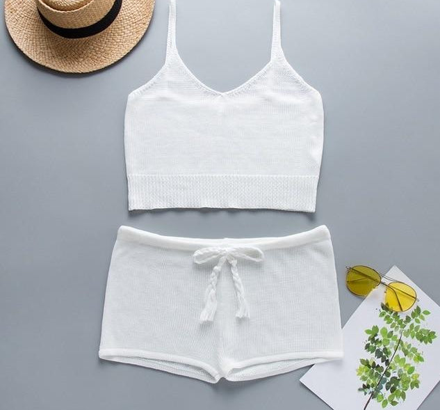 Boho White Knitted Crop Top and Shorts Elegant 2 Piece Set Beach