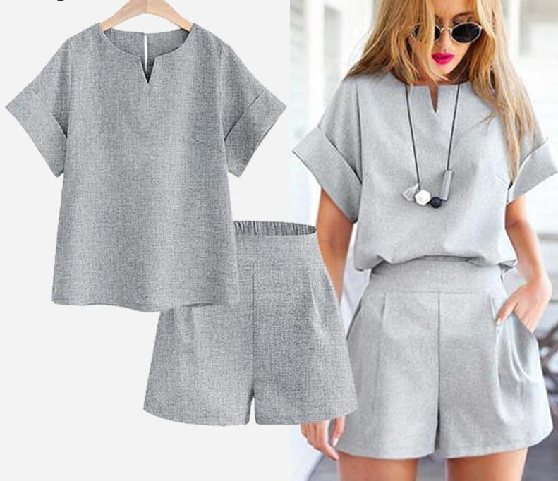 Spring summer Women two piece set Casual Cotton Tops & Shorts