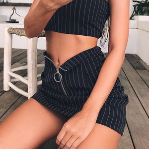 Black Fashion Crop Camis Top & Mini Skirts Set