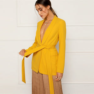 Yellow Shawl Collar Self Belted Single Breasted Minimalist Blazer
