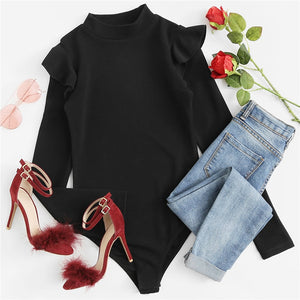 Mock Neck Frill Detail Textured Bodysuit Skinny Bodysuit