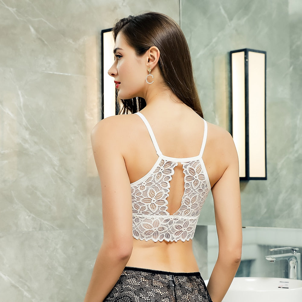 Sexy High Fashion Lace Wireless Comfortable Full Cup Backless Party Bralette