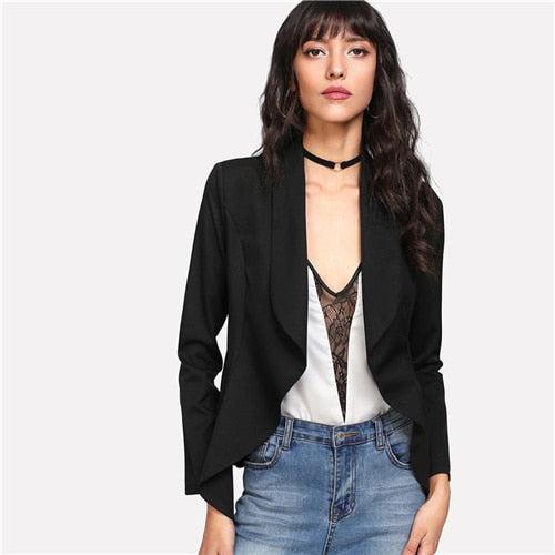 Black Solid Shawl Collar Open Front Office Blazer