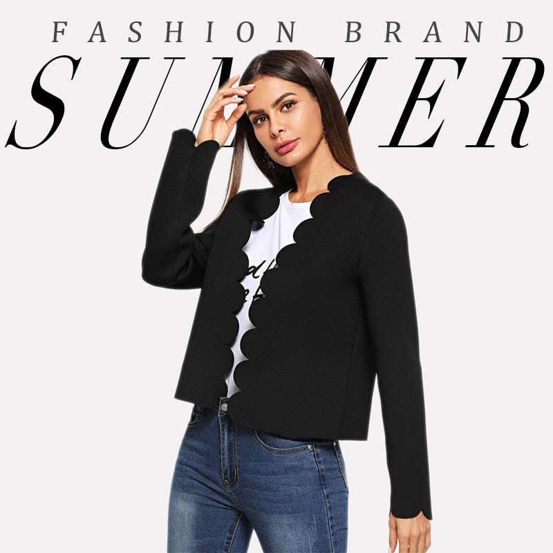 Black Office Solid Scallop Trim Bolero Casual Blazer