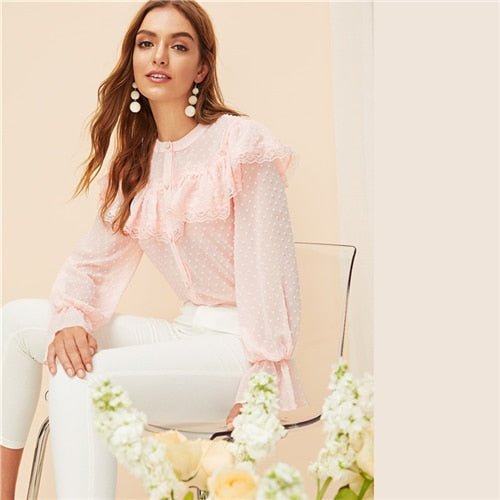 Romantic Pastel Pink Ruffle Trim Top Buttoned Blouse