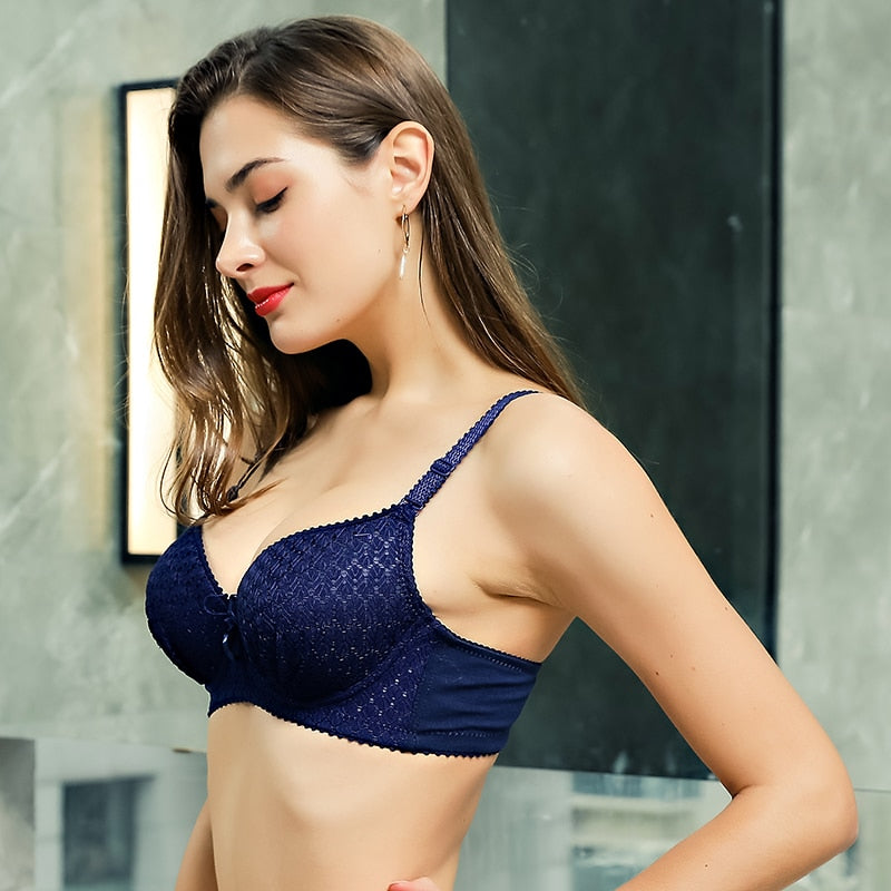 High Quality Push Up Underwear Bra Fashion Lace Stripe Lingerie Bra