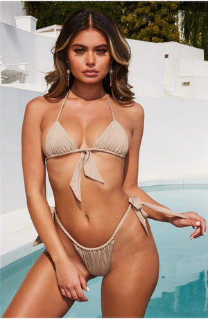 Sexy Beach Thong Lace Up Bow Halter Padded Bra Two piece Set Swim Suit