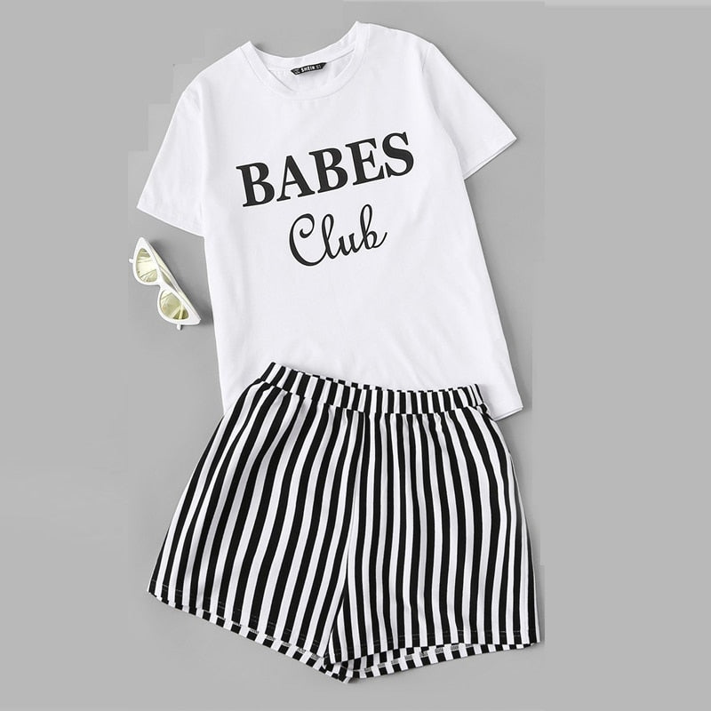 Black and White Print Top And Striped Shorts Pajama Set