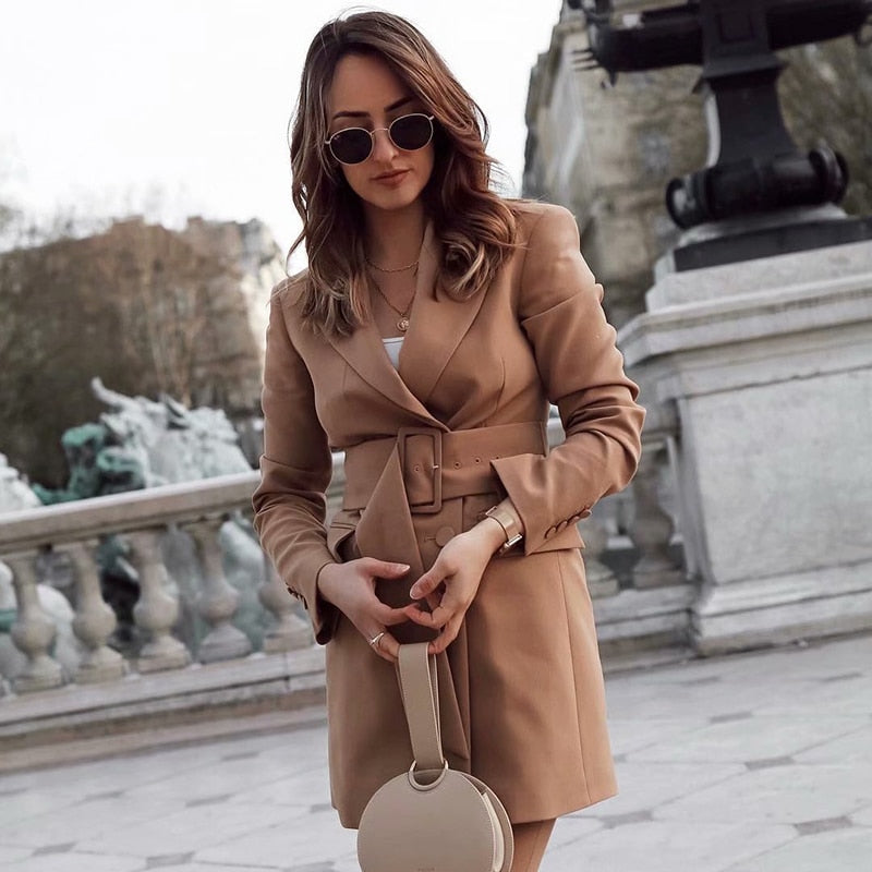 Khaki Long Chic Notched Collar Suits Blazer