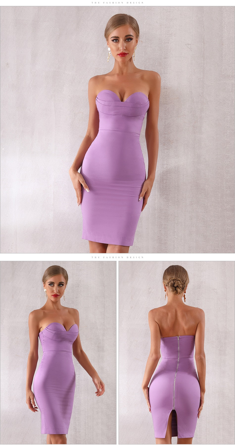 New Violet Fashion Sexy Strapless Midi Club Dress