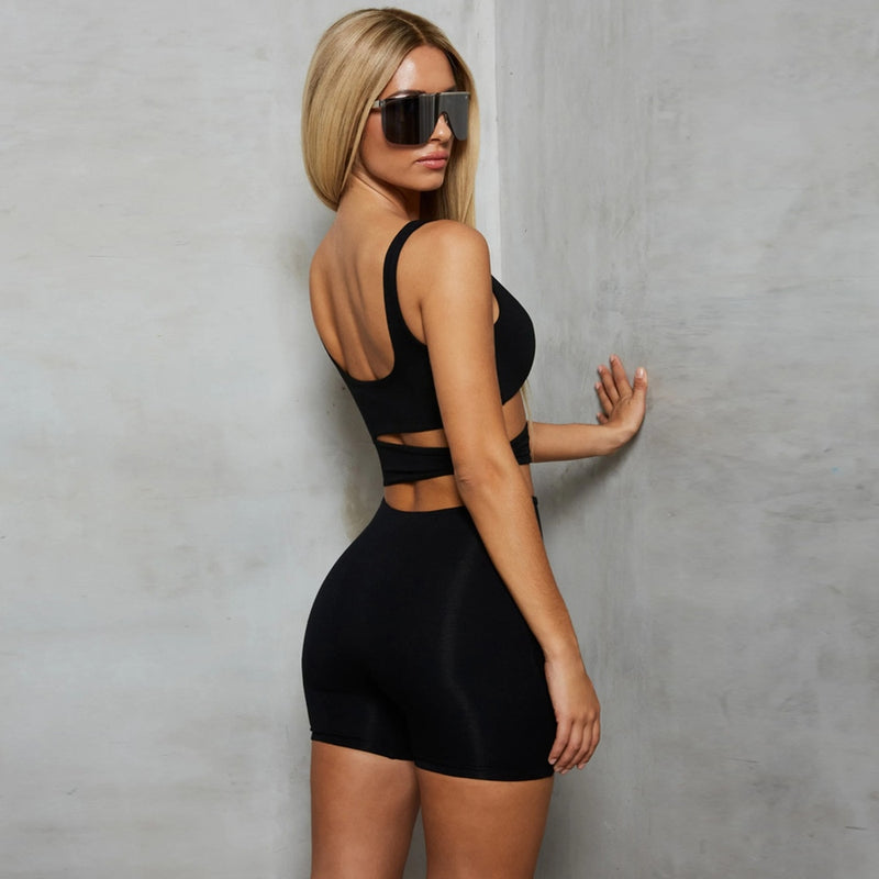 Cryptographic Black Cut-Out Sexy Backless Fitness Playsuit