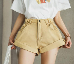 Vintage High Waist Crimping Denim Shorts