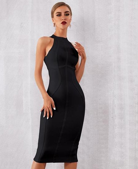 Fashion Black Mesh Runway Dress