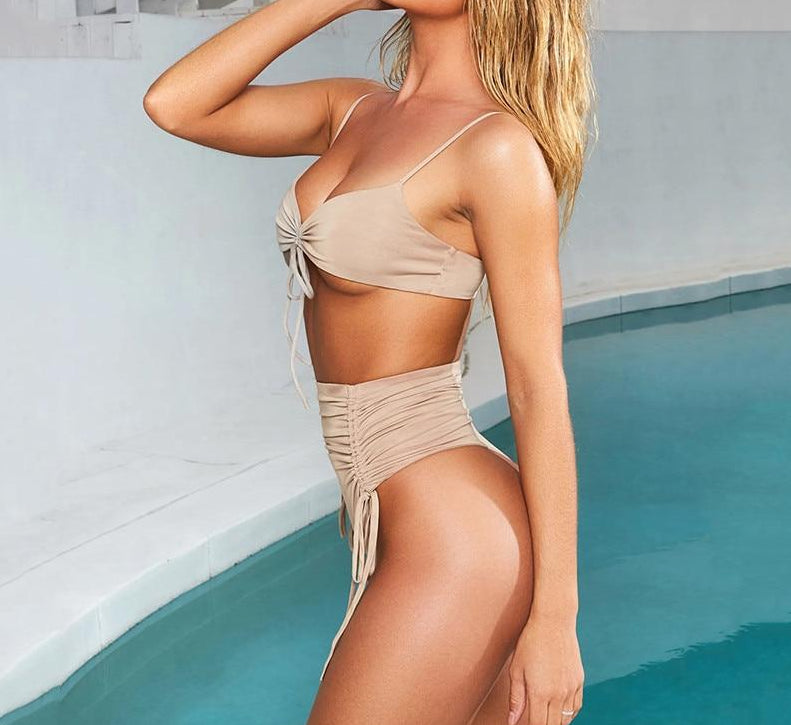 Strap Pleated Two Piece Set V-Neck High Waist Bathing Suit