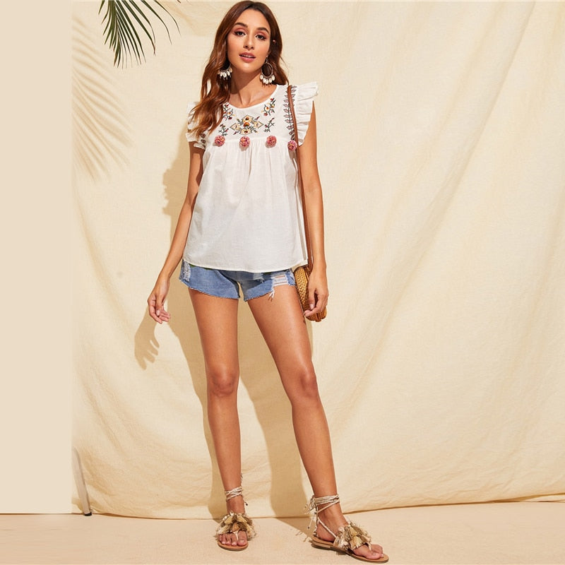 Cute Boho White Ruffle Trim Floral Embroidery Blouse