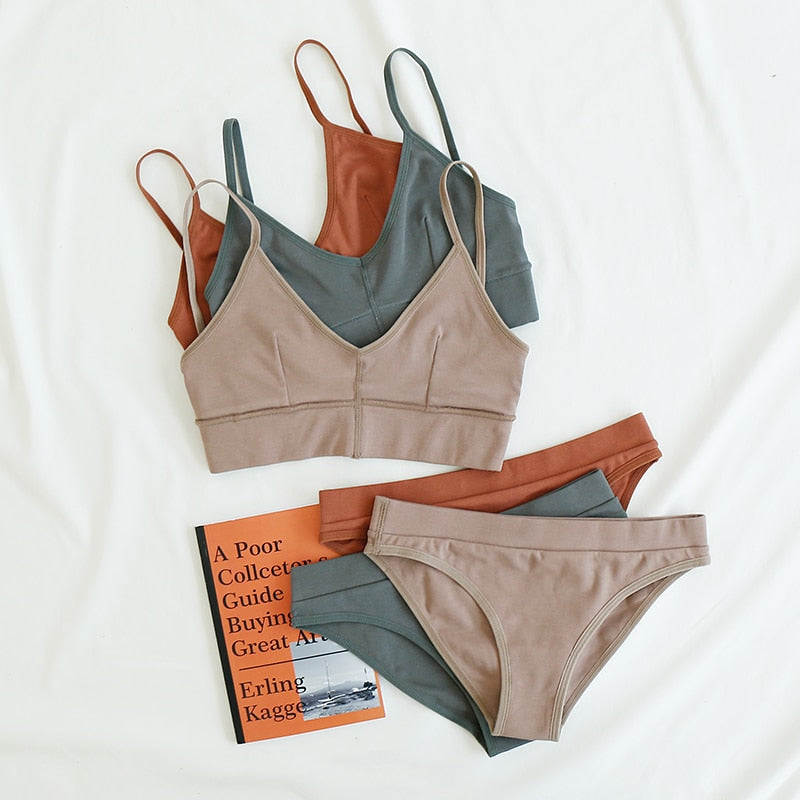 New Fashion Cotton Comfort Sexy Wireless Bras & Panties Set