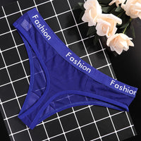 Low-Rise Wrap Design Sexy Seamless Mesh Transparent Thongs