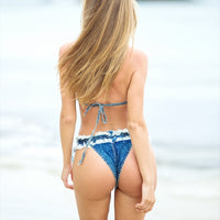 Summer Bikinis Set  Blue Sexy Skinny Denim Swimsuits