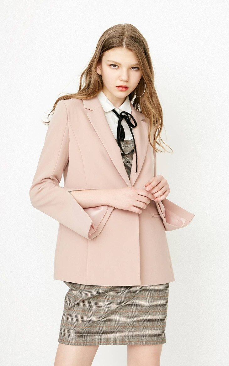 New Women's Thin Shoulder Pads Pure Color Lining Split Cuffs One-button Blazer