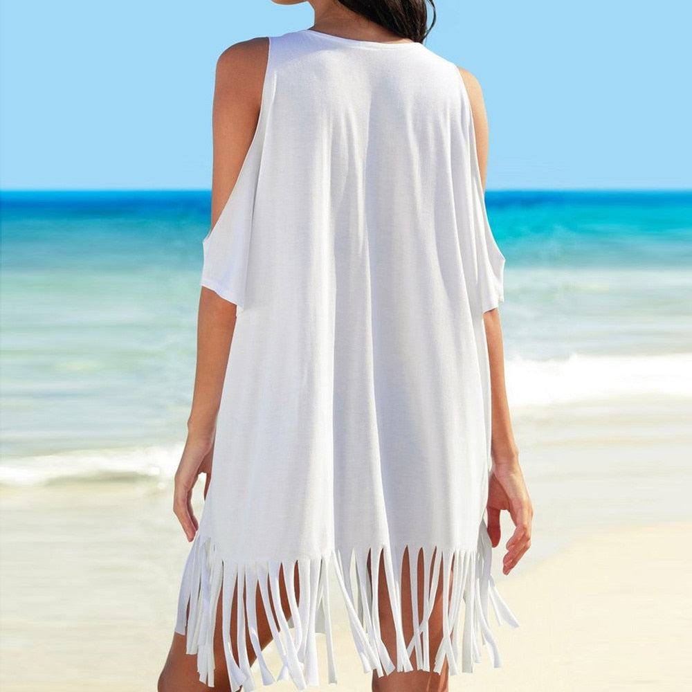 Women's Tassel Letters Print Baggy Swimwear Cover Up, Beach Dress