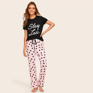 Print Top And Drawstring Waist Heart Pants Pajama Set