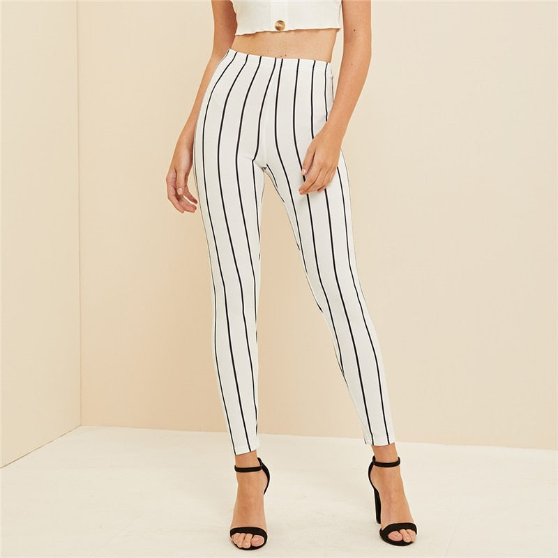 Casual White High Waist Striped Crop Leggings