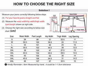 High Waist Full Length Women Casual Stretch Skinny Pencil Jeans, size chart